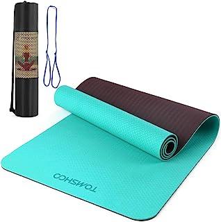 TOMSHOO 8 毫米瑜伽垫,防滑纹理专业瑜伽垫,环保运动垫,带便携带和网眼袋,适用于家庭健身房健身锻炼普拉提