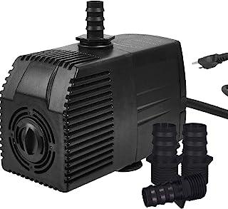 Simple 豪华 UL *认证 400 GPH (1500L/H) 潜水水泵带可调节进气和 15 英尺防水绳,适用于海洋、喷泉、池塘,黑色