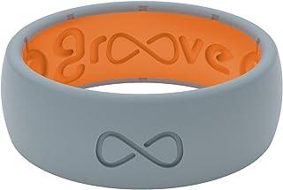 Groove Life 男士硅胶婚戒 – 男式透气橡胶戒指,终身覆盖,独特设计,舒适贴合男式戒指 – 原创纯色
