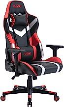 SMAX 游戏椅办公椅高背电脑桌面游戏椅 PU 皮革人体工学靠背和座椅高度可调节旋转躺椅带头枕和腰椎支撑(黑色+红色)