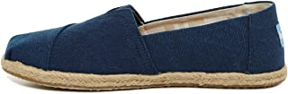 TOMS 女士经典 Shibori Dots 帆布便鞋高跟鞋 Navy Washed Canvas Rope Sole 5.5