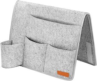 Ruosaren 床头盒毛毡床边收纳收纳架防滑带水床瓶架,杂志支架,适用于家庭床栏,沙发,双层床 - 浅灰色