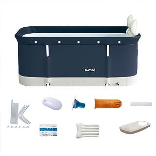 Insuwun 便携式浴缸套装,成人可折叠浸泡浴盆,浸泡立式浴缸,独立家庭浴室 SPA 浴缸,非常适合热浴冰浴 47 x 17 x 21 英寸(约 119.9 x 50.0 x 55.1 厘米)