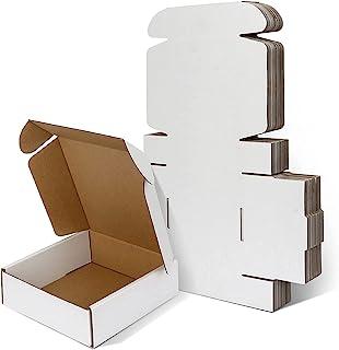 白色小号运输箱 15.24 x 15.24 x 5.24 厘米,白色瓦楞小纸板箱,用于运输,25 包