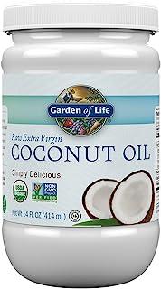 Garden of Life 生命花园 初榨椰子油-未精制的冷榨植物油,适用于毛发,皮肤和烹饪,14盎司/414ml