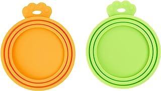 PetBonus 硅胶宠物罐盖,狗猫粮罐盖,适合多种尺寸,不含 BPA 可用洗碗机清洗(2 件装,橙色 + *)
