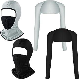 Giugu 2 件套夏季*面罩透气长袖和袖套适合男士或女士篮球高尔夫跑步足球骑行黑色,灰色
