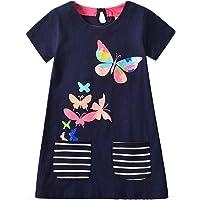 VIKITA 女孩休闲连衣裙夏季短袖幼儿女孩连衣裙适合 2-8 岁儿童