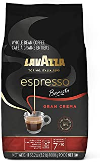 Lavazza Barista Gran Crema 浓咖啡,全豆混合,中度浓咖啡烘焙,35.2盎司,1000克,袋装(包装可能有所不同)