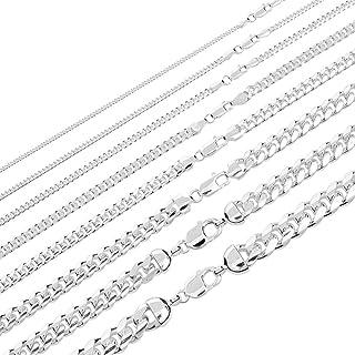 纯 925 纯银迈阿密古巴链子 - 2-12mm 45.72-76.2cm - 男士或女士厚重项链吊坠 - 意大利制造