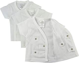 婴儿 3 或 6 件装侧扣短袖衬衫和长袖衬衫,连指袖口,* 纯棉罗纹针织