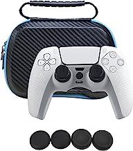 PS5 控制器的便携箱,6 合 1 EVA 硬质旅行携带箱袋储物袋,带软封面保护器,拇指抓握盖配件套件,适用于 Playstation 5 控制器