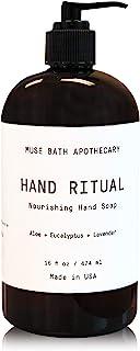 Muse Bath Apothecary 洗手液 - 芳香滋养洗手液,16 盎司,含天然精油 Aloe + Eucalyptus + Lavender 1-包每包 1 条