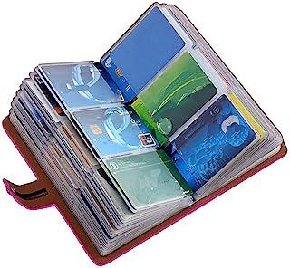 RFID 信用卡夹,皮革名片夹,适合女士男士,96 个卡槽 玫瑰粉