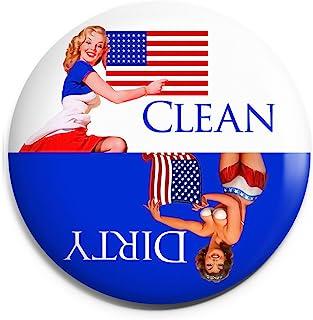Clean Dirty 洗碗机磁贴结束厨房问题。 Retro USA 主题。 红色和白色。 * 美国纯手工制造。