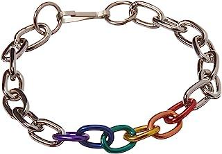 Gaysentials 彩虹和银色链条手链,1.6 盎司