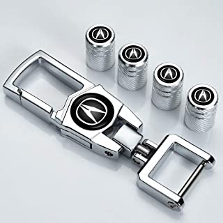 """N/A"" 5 件金属汽车车轮轮胎阀杆盖适用于 Acura MDX ILX TLX RLX RDX 带钥匙链标志造型装饰配件"