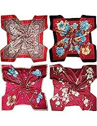 LilMents 4 種混合設計大型 88.9 cm × 88.9 cm 方形滌綸緞領圍巾套裝