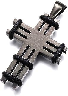 Sodacraft 男士不锈钢黑色十字项链吊坠带橡胶点缀 - 低*性 1.5