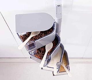 Kitchen Spice Box 多功能壁挂架塑料旋转调味盒密封盐、糖和胡椒锅(灰色,4 层)