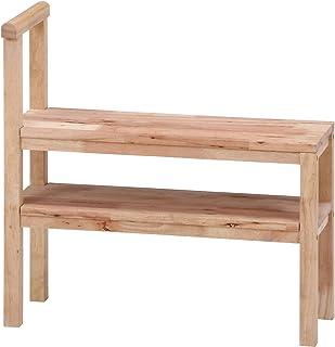 不二贸易 玄关椅子 玄关长椅 宽70厘米 自然 支撑椅 带收纳 天然木材 Natural Signature 37139