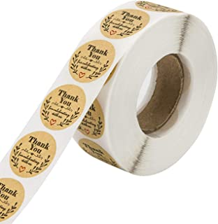 Nerseki Thank You 贴纸卷标签适用于牛皮纸家庭厨房 500 片(圆形牛皮纸叶)
