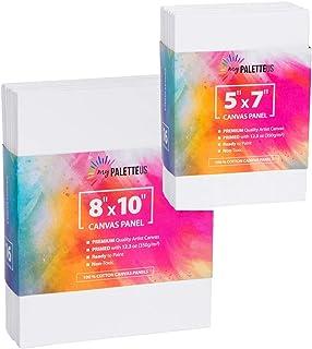 油画面板 适用于丙烯酸绘画 超值装 32 英寸(约 81.4 厘米)x 10 英寸(约 25.4 厘米)和 5 英寸(约 15.2 厘米)x 7 英寸(约 17.7 厘米)16 种画布 每种尺寸 白色 * 纯棉空白画布 高级底漆无酸艺术家画布 ...