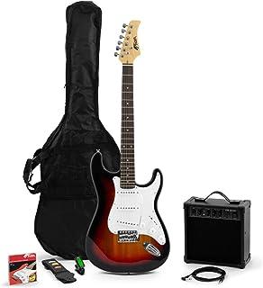 Tiger Beginners 全尺寸电吉他入门包 带放大器、背带、备用琴弦、琴弦、琴弦、琴弦 - 一盒即可完成初始套装 - Sunburst