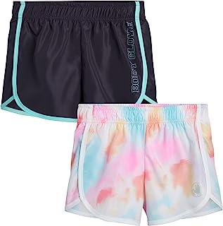 Body Glove 女孩 2 件装运动健身房锻炼瑜伽跑步短裤