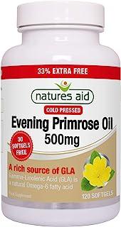 Natures Aid Evening Primrose Oil, 500 mg, 120 Softgels (Pure Cold Pressed Evening Primrose Oil, Omega-6 Gamma Linolenic Ac...