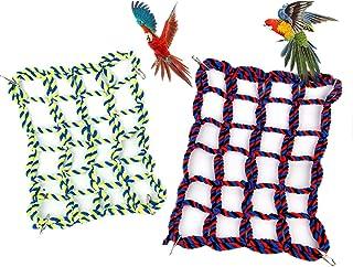 2 件宠物攀岩绳网,鸟攀岩绳梯子,雪貂棉绳网,小动物绳网悬挂吊床活动玩具,适用于大鼠、仓鼠、鹦鹉栖息地装饰和玩耍(红色/黄色)