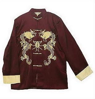 THY COLLECTIBLES 传统中国刺绣丝绸缎 Kung-Fu Tang 夹克外套 Tai Chi 制服双龙