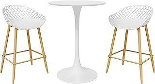 DAR Camber 3 件套咖啡厅台面高度餐具套装,白色/自然
