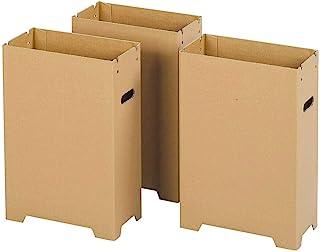 下村企贩 垃圾箱 集尘箱 纸箱 细长 3个装 【日本制造】 内表面防水加工 带腿 31916 燕三条