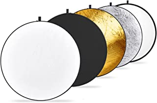 Neewer 43 英寸/110 厘米光反射器 5 合 1 可折叠多光盘 带包 - 半透明、银色、金色、白色和黑色 适用于工作室摄影照明和户外照明