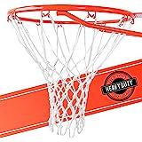 超重型篮球网更换 - 全天候防雨鞭,适合标准室内或室外轮圈 - 白色,12 环