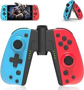 Joycon 替换 Nintendo Switch,PowerLead 无线控制器,适用于 Switch L/R Joy Pad 带手柄连接器,唤醒,涡轮,双减震功能 - 有线/无线开关游戏手柄