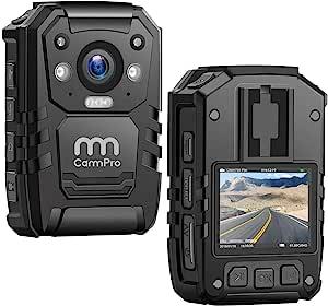 1296P 高清警车摄像头,128G 内存,CammPro 高级便携式机身摄像头,防水人体磨损摄像头,2 英寸显示屏,夜视,GPS 用于执法记录仪,*防护,个人使用