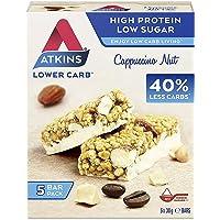 Atkins 高蛋白棒 生酮零食 低碳水化合物 低糖 卡布奇诺 坚果零食 5 盒 x 4(共 20 条)