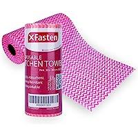 XFasten 一次性厨房毛巾,30 厘米 x 20 厘米(60 张),粉色,一次性可重复使用的洗碗巾和洗碗布,适用于厨…