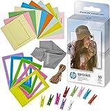 HP 惠普 Sprocket 2x3 优质Zink 背面粘性相纸 50 件装 + 5 个塑料桌框 + 10 张纸架…