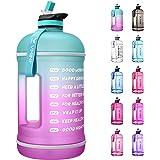 Vmini 水瓶带时间标记,动力水瓶和 1 加仑水瓶带时间标记,饮用更日常 - 防漏可重复使用健身房运动户外大容量(12…