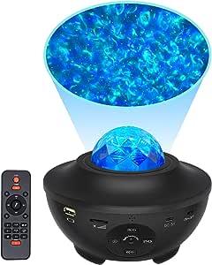 HSicily 星空投影机 星空投影机 蓝牙音箱 带遥控器 定时器 天夜灯 LED 星云 适用于婴儿卧室 儿童游戏室 派对 迪斯科装饰