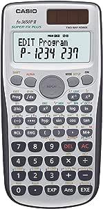 Casio FX - 3650p II 编程计算器 带279种功能,2 行显示屏,电池 / 太阳能电池