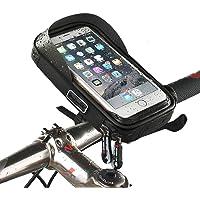 自行车手机包框架支架防水触摸屏自行车车把前手机支架 360° 可旋转黑色袋套适用于 iPhone X 8 6s plus…