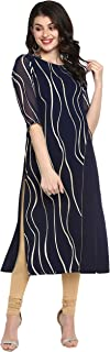 Janasya 印度女式*蓝涤纶绉纱衬衫