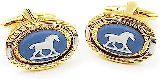 Wedgwood Jasperware 袖扣 - 淡蓝色带马