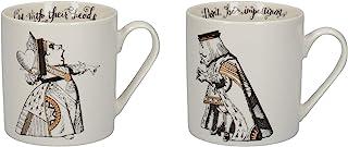 V&A 爱丽丝梦游仙境马克杯套装,礼盒装,心形国王和女王,精美瓷器,350毫升 - (2 件套)
