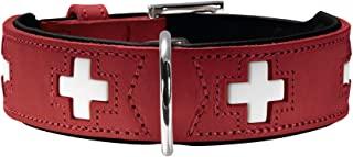HUNTER SWISS 狗狗项圈,皮革,高品质,瑞士十字架 Rot (rot/schwarz) 60