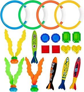YHmall 水下游泳潜水泳池玩具套装,19 件儿童泳池潜水玩具,适用于儿童潜水环鱼雷海藻宝石(黄色)